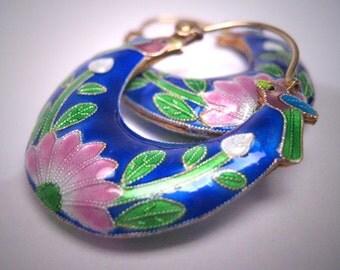 Vintage Enamel Earrings Bird Floral Estate Antique