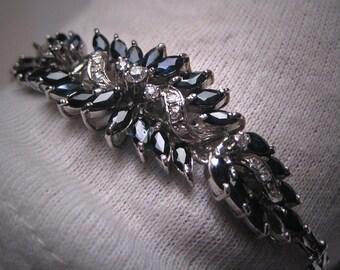 Antique Blue and White Sapphire Bracelet Vintage Retro Art Deco 1950