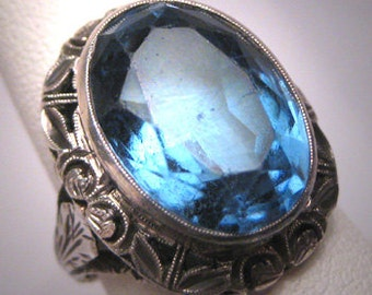 Antique Sapphire Wedding Ring Vintage Victorian Art Deco c.1900 Engagement