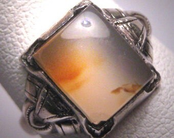 Antique Victorian Agate Ring Ostby Barton Vintage c.1900 Titanic