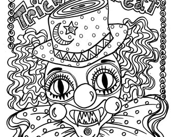 instant download scary clown halloween spooky coloring page for all ages trick or treat adult coloring