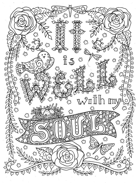 Digital download hymn coloring page it is well with my soul Religious coloring books for adults