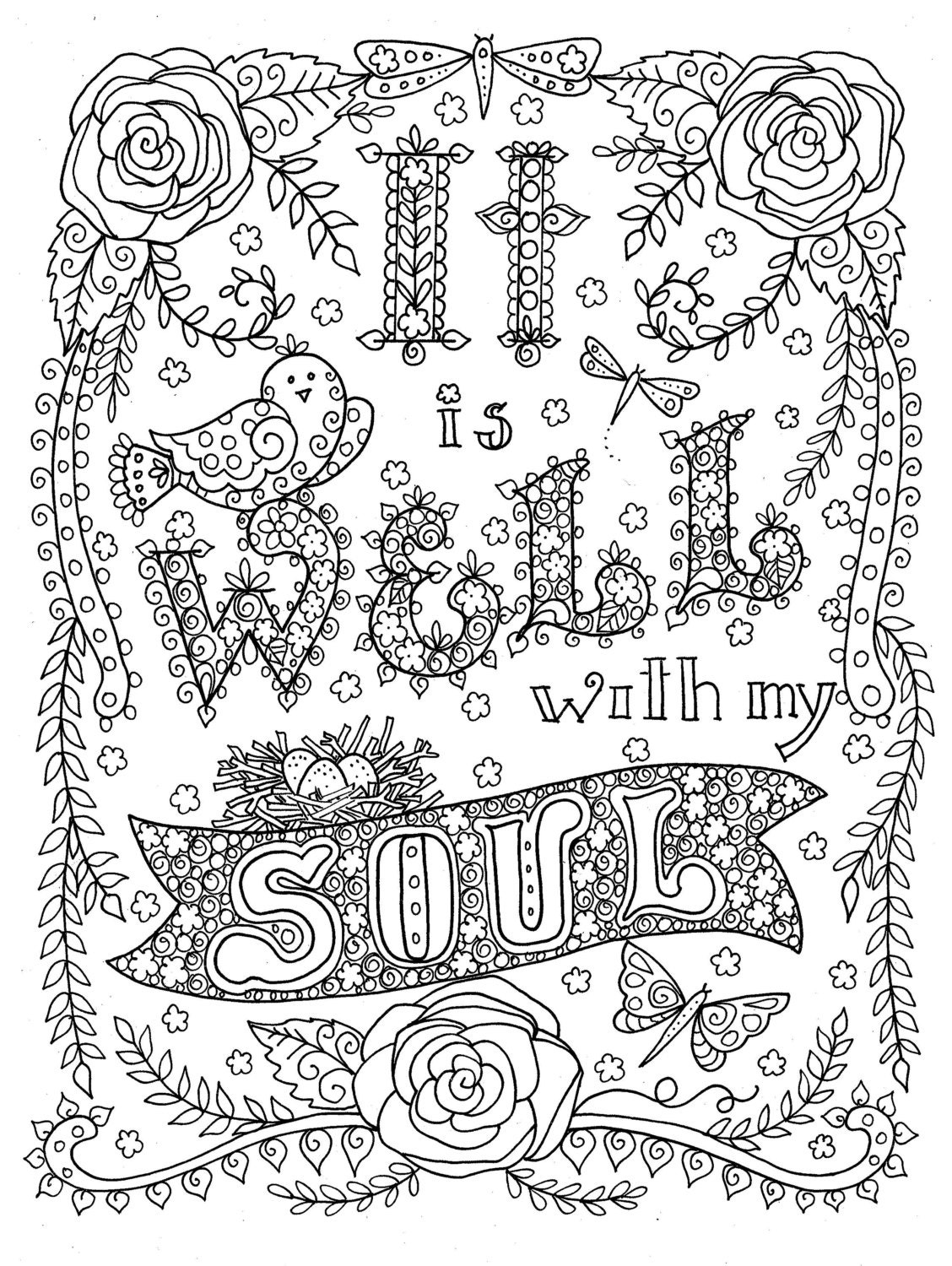 Digital download Hymn Coloring page It is Well with my Soul