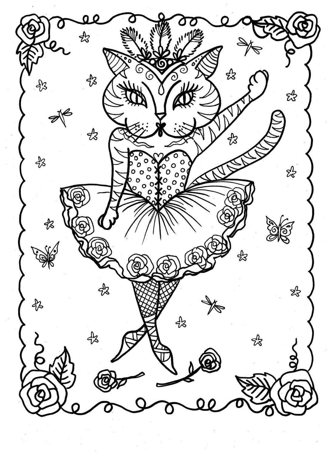 adult coloring pages download | 5 Pages Instant Download Coloring for Adults by ChubbyMermaid