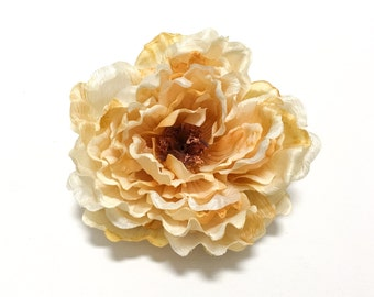Large Artificial CREAM Golden Yellow Peony - Artificial Flowers, Silk Flowers, Wedding, Flower Crown, Wreath, Millinery