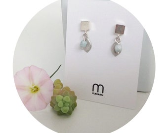 Faceted czech glass beads and leaf charm silver square post earrings