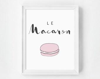 Macaron Art Print, Macarons Print, Art Print, French Macaron, French Kitchen Decor, Macaroon Print, French Kitchen Poster, Macaron Kitchen
