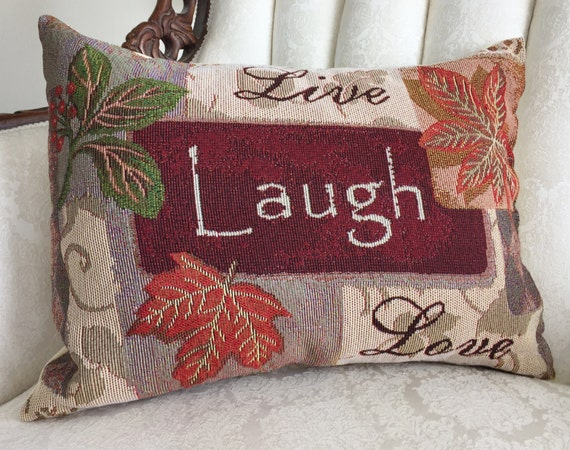 Live Laugh Love Tapestry Pillow 13x18 Fall Colors And