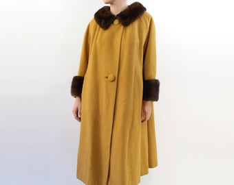 VINTAGE Mustard Coat Fur Collar Cuffs Swing Medium