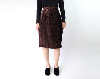 VINTAGE Bronze Pencil Skirt 1970s Metallic