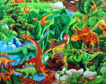 Dinosaur Fabric Realistic Diaosaurs Jungle Setting Timeless Treasures Cotton Material