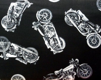 Motorcycle Fabric, Black White Cotton Material , Tossed Motorcycle Material Timeless Treasures