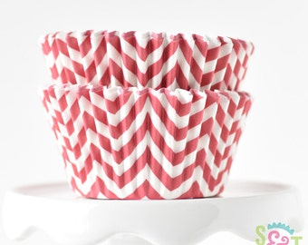 Chevron Red BakeBright GREASEPROOF Baking Cups Cupcake Liners | ~30 count