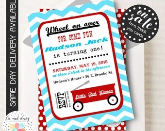 Little Red Wagon Invitation, Little Red Wagon Birthday Invitation, Little Red Wagon Party, Boy First Birthday, Boy Birthday, Wagon Invite