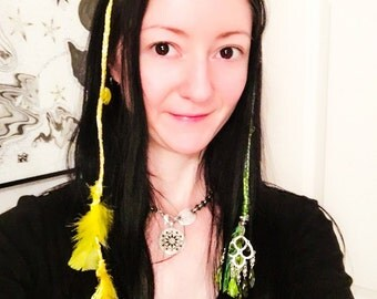 Braided Yellow Hair Extension Clip with Feathers and Beads