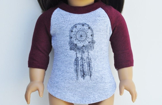 American Made Doll Clothes - Graphic Tee - Baseball T-shirt, Dream Catcher, 3/4  Sleeved Top, Maroon, Grey, Separates
