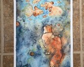 Fishing in Space 9x12 inch Original Watercolor Painting
