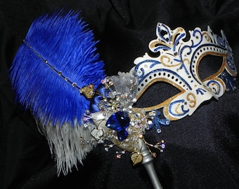Ivory and Silver Capri Feather Mask with Royal, Navy and Gold Accents - Made to Order