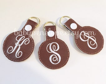 Faux Leather Monogrammed Keychain