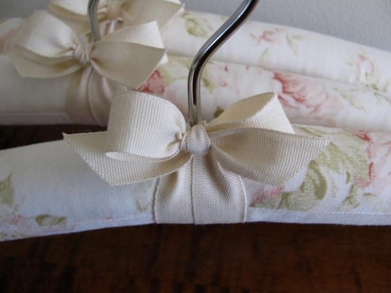 Baby Hangers, Pink Rose Hangers, Baby Shower Gift, Padded Hangers, Children's Hangers, Organic Ribbon, Pink Rose Fabric, Set of 3