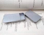 40ml sliding lid tins, rectangular metal tins, color silver, blank (1 tin box)