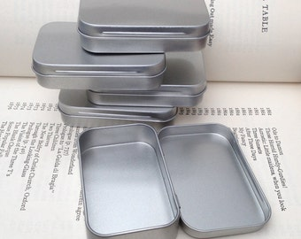 rectangular metal tins, blank hinged tins, color silver 50ml tin box, business card size (a set of 50 tins)