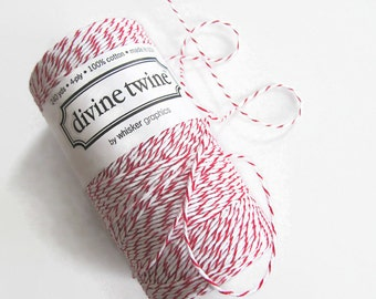 Red & White Bakers Twine - Cherry Striped Divine Twine - Craft - Scrapbooking - Invitation Wrapping String - Packaging - Full Spool 200 Yard