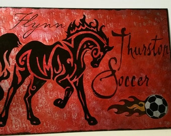 "THURSTON Colts soccer fundraiser 8""x12"" etched metal sign in red, black, and fire"