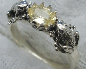 2 Frogs Ring, Natural Yellow Sapphire, Recycled Sterling Silver, September, Virgo birthstone