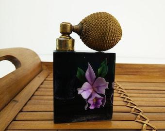 Vintage Acrylic Atomizer / Lucite Perfume Bottle / Mister / Encased Flower / Purple Orchid