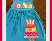 Birthday Cake Personalized Dress- Birthday Name Dress - 1st 2nd 3rd 4th 5th 6th 7th 8th Birthday - Long Sleeves - You Choose Dress Color