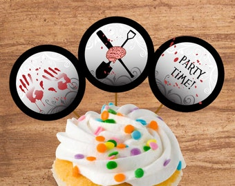 Instant Download Zombie Party Cupcake Toppers or Craft Circles