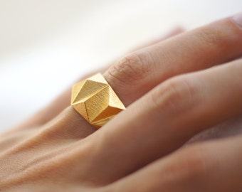 Geometric Prism Solid 3d Printed Ring- Polished Gold