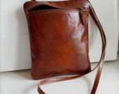 Smooth Leather Handbag, Thick, Quality, Mottled Brown Leather,  Handcrafted, Lined. Zippered, One of a kind..