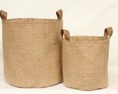 Hessian Burlap Storage Basket Bucket- Leather Handles - Eco Friendly Rustic Jute Storage - UK - Nursery, Plant Pot Holder, Tidy, Organiser