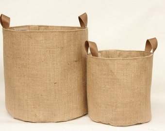 Hessian Burlap Storage Basket Bucket- Leather Handles - Eco Friendly Rustic Jute Storage - UK - Nursery, Plant Pot Holder, Tidy, Organiser