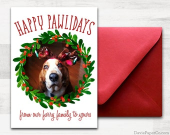 CUSTOM photo Holiday Card! - Happy Pawlidays - Pet Holiday card - From the Cat, From the Dog