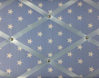 "Pin Board/Notice Board ""Baby Blue with White Stars"" Message, Memo, Bulletin, Fabric, Ribbon  Board"