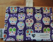 Sugar Skulls on Purple Eco Friendly Snack Bag by Seweco/Easy Open /Child Friendly Tabs/FOOD SAFE