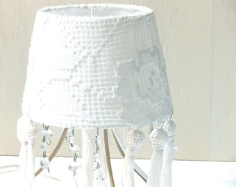 Shabby chic lamp, Fabric Lamp, Retro Lighting, Living room lights, Table lamp  with white Fielat Lace, Floral  Country french decor