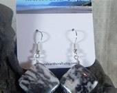 Black and white zebra jasper earrings square diamonds semiprecious stone jewelry packaged  in a colorful gift bag 2982 A B C