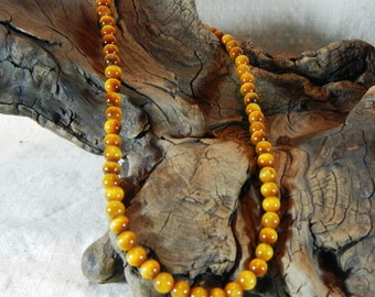 """Brown Tigers Eye necklace 16"""" long African tigers eye 8mm round beads lobster clasp semiprecious stone jewelry packaged in a gift bag 11849"""
