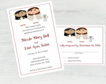 Lesbian Wedding Invitation Set – Featuring You and Your Partner as Cartoons! LGBT Wedding, Invitation Suite, Unique Wedding, Custom