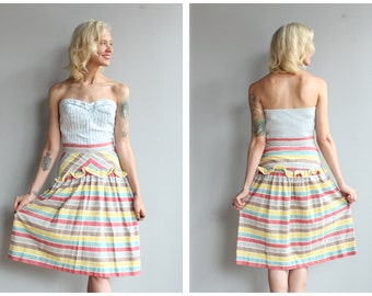 1940s Skirt // Candy Striped Skirt // vintage 40s skirt