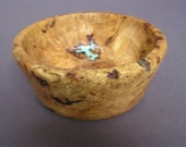 Wild cherry burl bowl with turquoise inlay