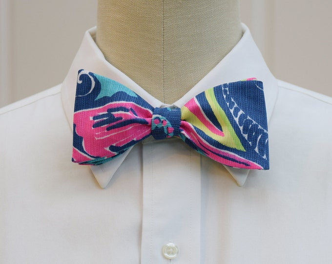 Men's Bow Tie, Private Island sea blue & hot pink Lilly print, groomsmen gift, wedding bow tie, groom bow tie, pink/blue bow tie, prom tie