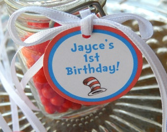 """Dr. Seuss Cat in the Hat Birthday Favor Tags - For Cake Pops - Lollipops - Cookies - Desserts - Party Favors - (25) 1.5"""" Personalized Tags"""