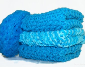 Hand made knitted Dish cloth in blue