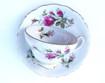 Tea cup and saucer Royal Sealy China Japan rose white gold wedding shower gift anniversary housewarming Christmas
