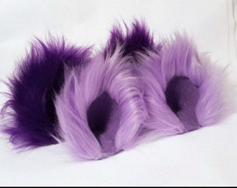 Fuzzy Purple or Lilac Cat Ears and / or Tail Lavender